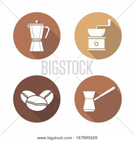 Coffee brewing equipment flat design long shadow icons set. Moka pot, classic coffee maker, turkish cezve, grinder and beans. Vector silhouette illustration