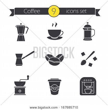 Coffee silhouette icons set. Espresso machine, classic coffee maker, steaming mug on plate, french press, turkish cezve, spoon with sugar cubes, hand mill. Isolated vector illustrations