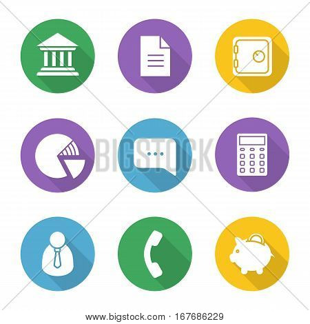 Banking and finance flat design long shadow icons set. Bank building, courthouse, document, safe deposit box, percentage diagram, chat box, calculator, office worker, handset, piggybank. Vector symbol