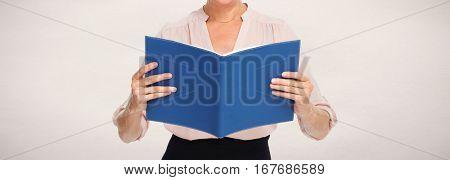 Hands with blue folder
