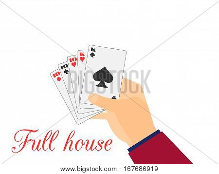 Hand with playing cards. Full House Tens and Kings. Vector illustration