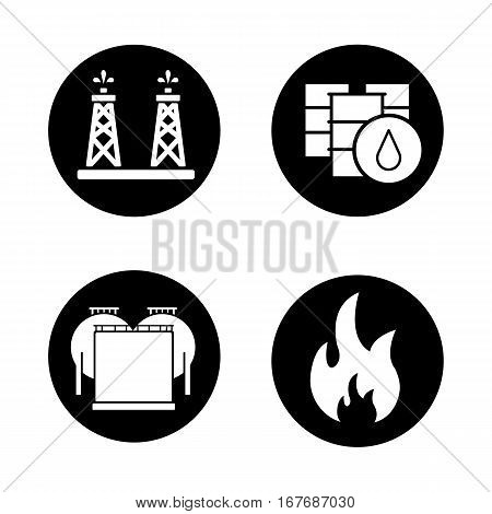 Oil industry icons set. Oil rig, barrels and storage, flammable sign. Vector white silhouettes illustrations in black circles