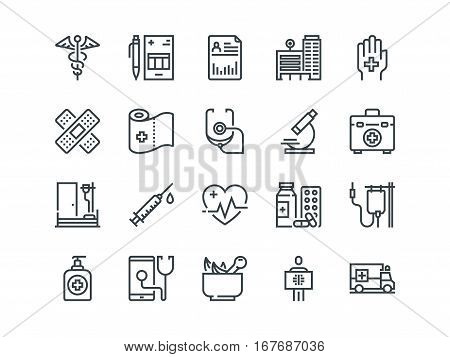 Medical and Healthcare. Set of outline vector icons. Includes such as Emergency, Heartbeat, Medical equipment and other