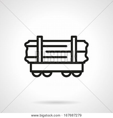 Railroad transport symbol. Abstract open rail-car platform for transportation wood, timber and other long loads. Black simple line design vector icon.