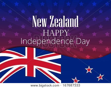 New Zealand Independence Day. Festive Banner With Flag And Text. Vector Illustration