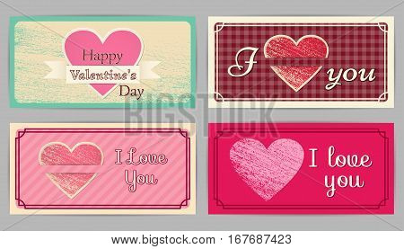 Valentine's Day, wedding retro cards. Vintage design backgrounds. Country style. Vector graphic.