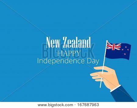 Hand Holds A New Zealand Flag, Independence Day. Vector Illustration
