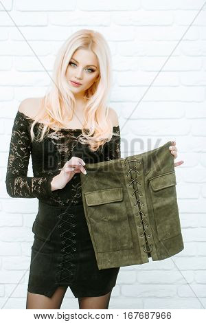 Pretty Blonde Girl With Skirt