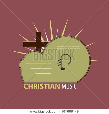Logo Christian music studio. Icon of the music CD and the clouds with Christian overtones.