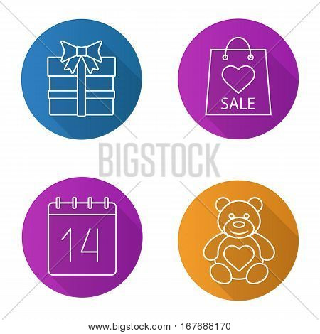 Valentine's Day flat linear long shadow icons set. Teddy bear, February 14, gift box, Valentines Day sale. Vector line illustration