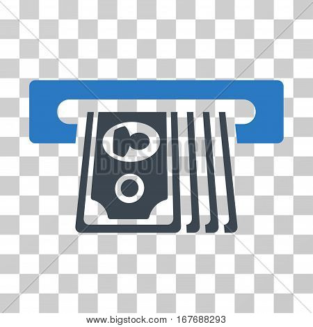 ATM Insert Cash icon. Vector illustration style is flat iconic bicolor symbol smooth blue colors transparent background. Designed for web and software interfaces.