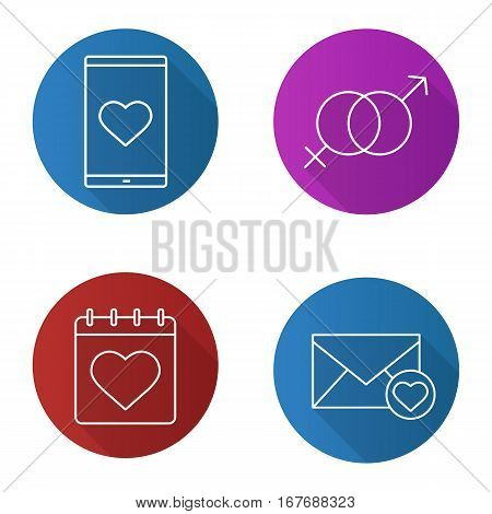 Valentine's Day flat linear long shadow icons set. February 14 calendar, smartphone dating app, love letter, sex symbol. Vector line illustration