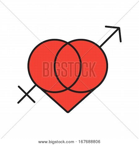 Valentine's Day color icon. Interlocked Mars and Venus symbols in heart. Sex shop emblem. Isolated vector illustration