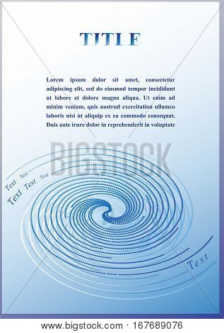 Spiral light blue. Abstract vector circuit background with place for your text. The cover design.