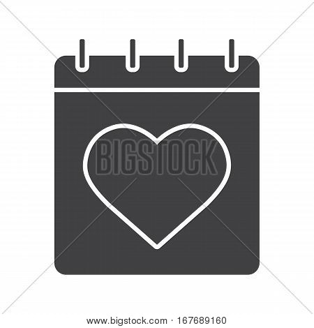 Valentine's Day icon. Calendar silhouette symbol. February 14 day. Negative space. Vector isolated illustration