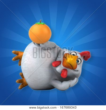 Fun chicken - 3D Illustration