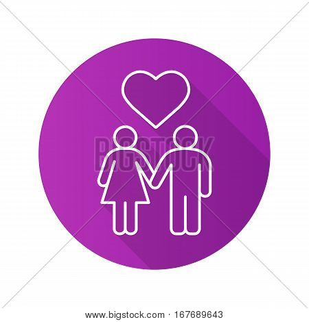 Couple in love flat linear long shadow icon. Heterosexual romantic date. Man and woman with heart shape above. Vector line symbol