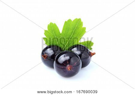 Currant berries with leaves isolated on white background.