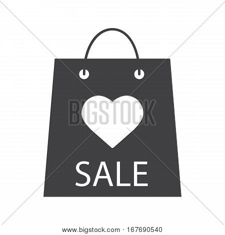 Valentine's Day sale icon. Silhouette symbol. Store bag with heart shape. Negative space. Vector isolated illustration