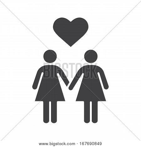 Lesbian couple icon. Silhouette symbol. Two women holding hands. Lesbian girls with heart shape above. Negative space. Vector isolated illustration