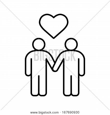 Homosexual couple linear icon. Gays thin line illustration. Two men holding hands with heart shape above. Contour symbol. Vector isolated outline drawing