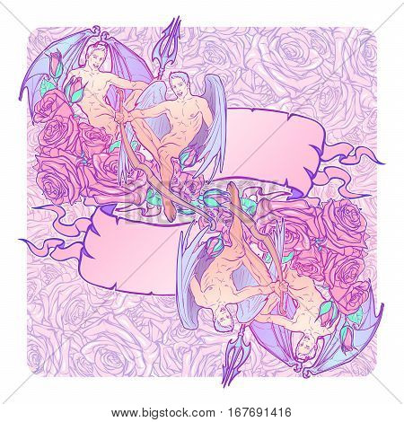 Gemini Zodiac sign with a decorative frame of roses. Beautiful male twins. Concept art for horoscopes, tattoo design colouring books. Gay Pinup style banner. EPS10 vector illustration