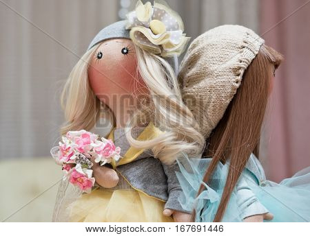 Two Handmade Rag Dolls - Blonde And Brown-haired