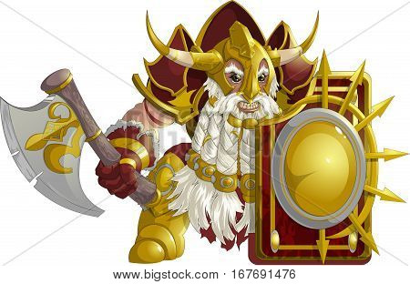 mighty fantasy dwarf armor on a white background