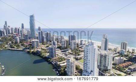 GOLD COAST, AUSTRALIA - JANUARY 24 2017:  Aerial view of Surfers Paradise skyline and beach front at sunrise