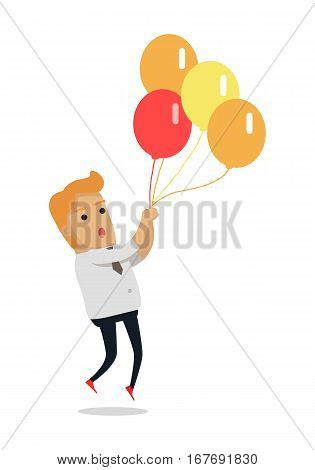 Man flying on color balloons. Frightened man flying holding balloons bunch filled with helium flat vector isolated on white background. Preparing for holiday concept. For festive agency ad