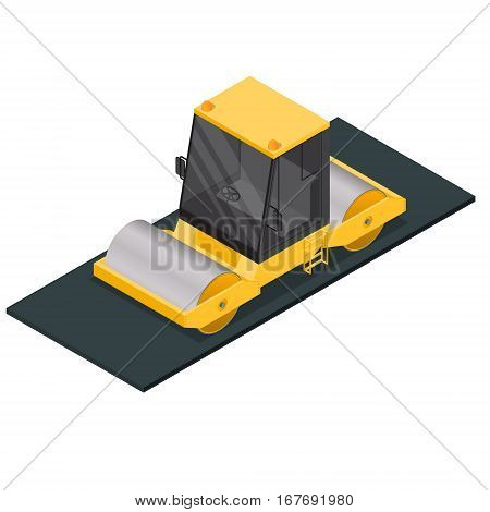 Asphalt Compactor Isometric View Special Equipment Machine for Road Repair. Vector illustration