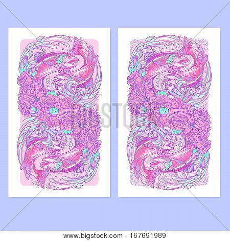 Zodiac sign - Pisces. Two fishes jumping from the water. Circle composition, decorative frame of roses ans water swirls. Vertical banners set. EPS10 vector illustration.