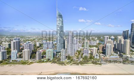 GOLD COAST, AUSTRALIA - JANUARY 31 2017: Aerial view of Surfers Paradise and beach with Q1 building.