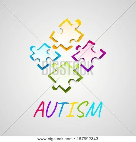 Autism awareness poster with puzzle pieces on grey background. Solidarity and support symbol. Medical concept. Vector illustration.