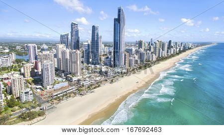 GOLD COAST, AUSTRALIA - JANUARY 31 2017: Aerial view of Surfers Paradise and beach.