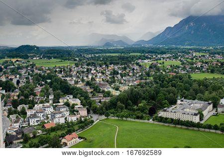 View Of The Salzburg From Hohensalzburg Castle. Austria