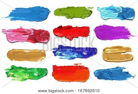 Abstract acrylic color brush strokes. Collection. Isolated on white.