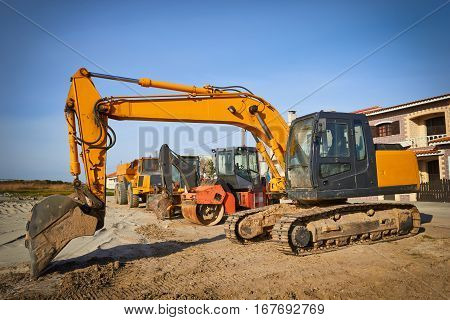 Excavator (Earth  Mover) parked at the site