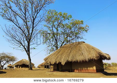 African Life: Typical Village In Sub-saharan African Bush