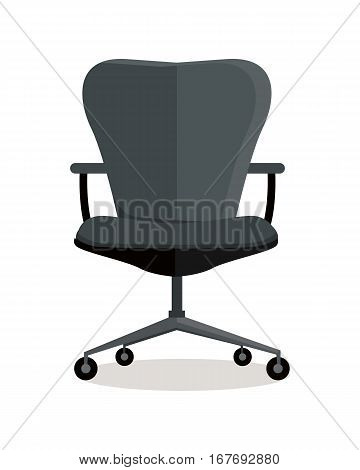 Office black chair icon symbol isolated on white. Retro piece of furniture. Editable items in flat style for your web design. Part of series of accessories for work in office. Vector illustration