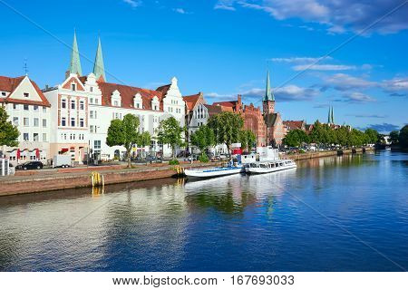 Historic Old Town Luebeck At The River Trave, Summer Day