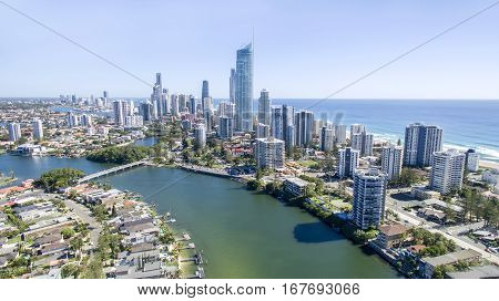 GOLD COAST, AUSTRALIA - JANUARY 24 2017: Aerial view of Surfers Paradise skyline and Isle of Capri at sunrise