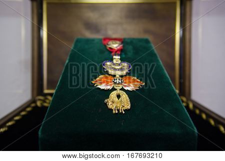 SALZBURG AUSTRIA - JUNE 12 2012: Order of the Golden Fleece - is a Roman Catholic order of chivalry founded in Bruges by Philip III Duke of Burgundy in 1430