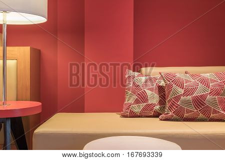 Modern sofa bed and backrest pillow at living room area