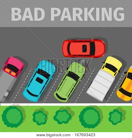 City parking vector web banner. Flat style. Shortage parking spaces. Large number of cars in a crowded parking. Urban infrastructure and car boom. Bad parking