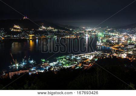 Nightview of Nagasaki Bay from Nabekanmuri Mountain in Nagasaki, Japan.