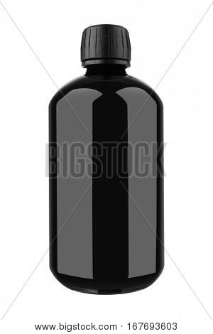 Medicine bottle of black glass or plastic isolated on white