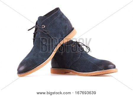 Men's Blue Leather Shoes Isolated on White Background