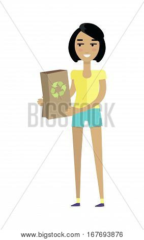 Young european woman in yellow t-shirt and blue shorts with paper bag. Caucasian beautiful girl. Attractive teenager lady in casual clothes. Part of series of people of the world. Vector illustration