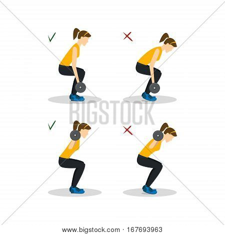 Girl Squats with Barbell Correct or Incorrect Positions Health Care Concept Flat Design Style. Vector illustration